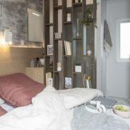 Chambre parentale lit double de notre mobil home cottage Taos F6
