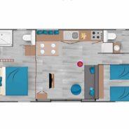 Plan de notre mobil home cottage Taos F4
